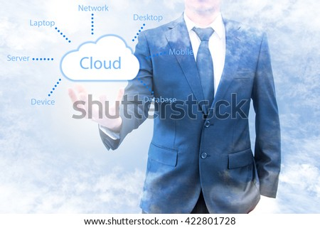 Cloud computing concept on double exposure of businessman with cloud and blue sky - stock photo