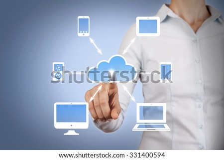 Cloud Computing Concept on Virtual Screen