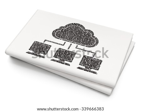Cloud computing concept: Pixelated black Cloud Network icon on Blank Newspaper background
