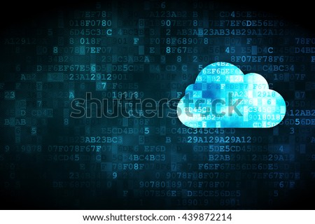 Cloud computing concept: pixelated Cloud icon on digital background, empty copyspace for card, text, advertising