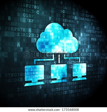 Cloud computing concept: pixelated Cloud Network icon on digital background, 3d render - stock photo