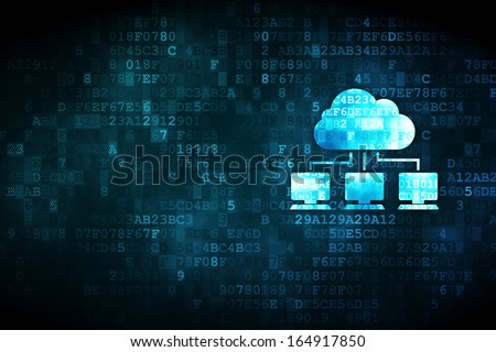 Cloud computing concept: pixelated Cloud Network icon on digital background, empty copyspace for card, text, advertising, 3d render - stock photo