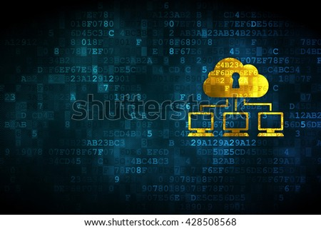 Cloud computing concept: pixelated Cloud Network icon on digital background, empty copyspace for card, text, advertising - stock photo