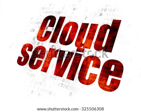 Cloud computing concept: Pixelated red text Cloud Service on Digital background - stock photo