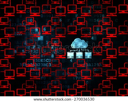 Cloud computing concept: rows of Pixelated red lan computer network icons around blue cloud network icon on Digital background, 3d render - stock photo