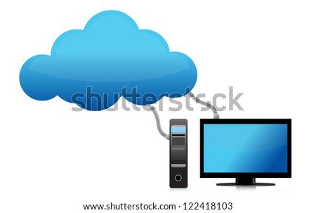Cloud computing concept severs and terminal illustration design