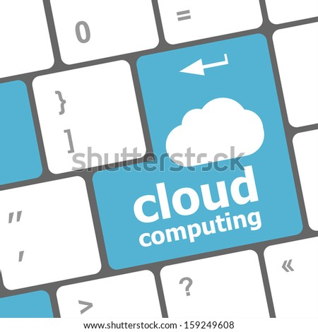 Cloud computing concept showing cloud icon on computer key button, raster - stock photo