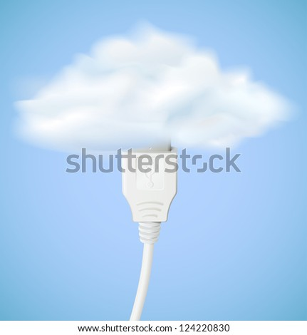 Cloud computing concept. Usb cable is connected to the cloud. Raster version - stock photo