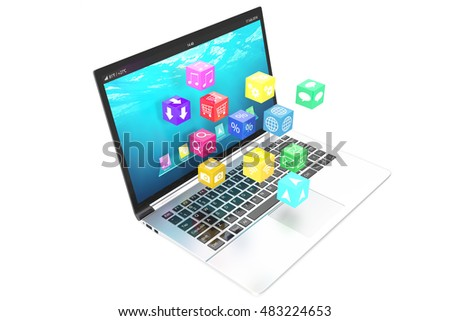 Cloud computing concept: white laptop with  of color application icons isolated on  background. 3d illustration
