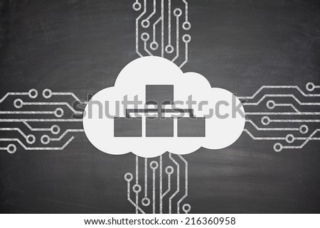 Cloud computing concept with cloud and devices - stock photo