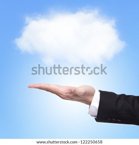 Cloud computing concept with copy space, business man hand palm holding cloud with blue sky background - stock photo
