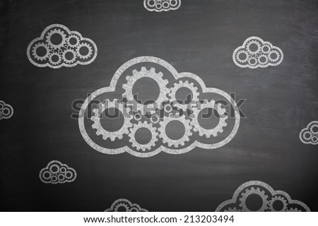 Cloud computing concept with couple clouds - stock photo