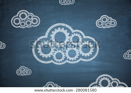 Cloud computing concept with couple clouds blue background - stock photo
