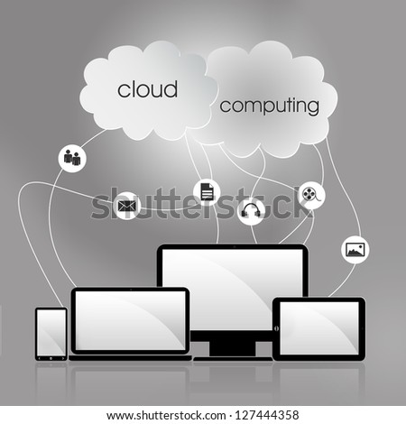 Cloud computing concept with many icons like tablet, smartphone, desktop, laptop, music, image, video - stock photo