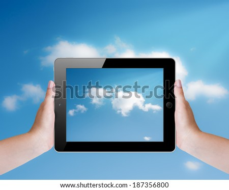 Cloud computing concept with tablet pc
