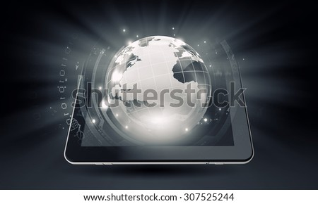Cloud computing concept with tablet pc and application icons  - stock photo
