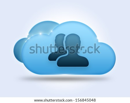 Cloud computing concept with two users icon - stock photo