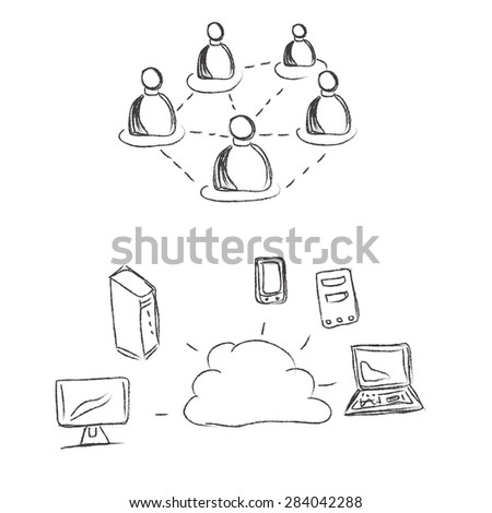 Cloud, computing, conception, sketch, clip art - stock photo