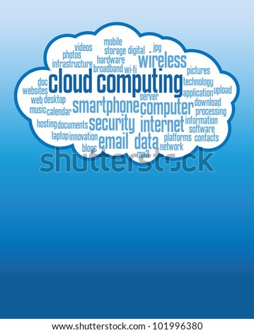 cloud computing concepts background, illustrations with copy space. - stock photo