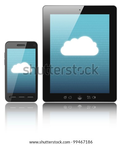 Cloud-computing connection on digital tablet pc and modern smart phone