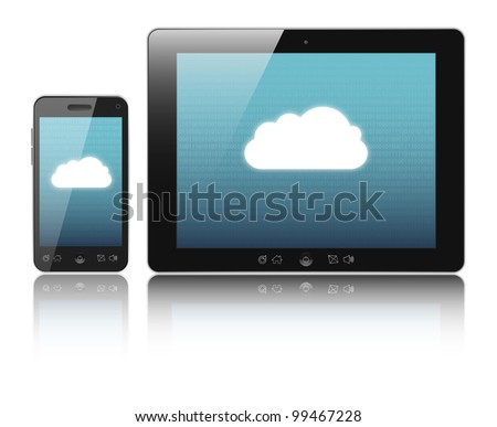 Cloud-computing connection on digital tablet pc and modern smart phone isolated on white. - stock photo