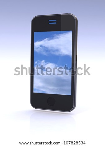 cloud computing connection on mobile smartphone. - stock photo