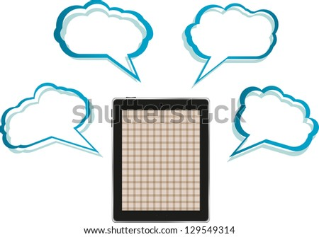 Cloud-computing connection on the digital tablet pc. Conceptual image. Isolated on white, raster - stock photo