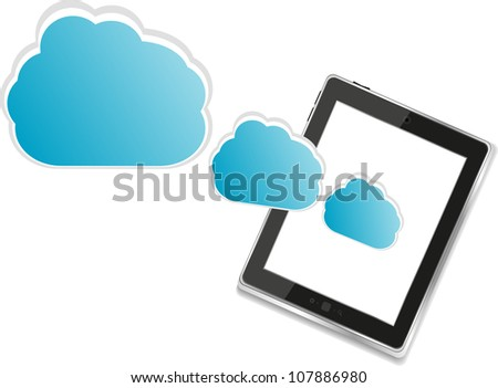 Cloud-computing connection on the digital tablet pc - raster - stock photo