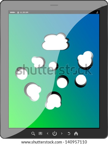 Cloud-computing connection on the digital tablet pc, raster - stock photo