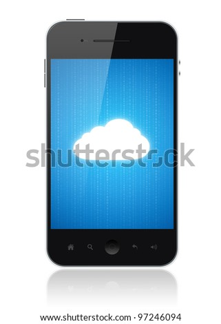 Cloud-computing connection on the mobile smart phone. Conceptual image. Isolated on white. - stock photo