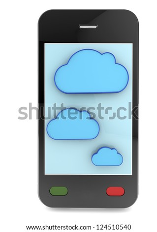 Cloud-computing connection on the mobile smart phone. isolated on white - stock photo
