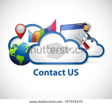 cloud computing contact us sign illustration design graphic - stock photo
