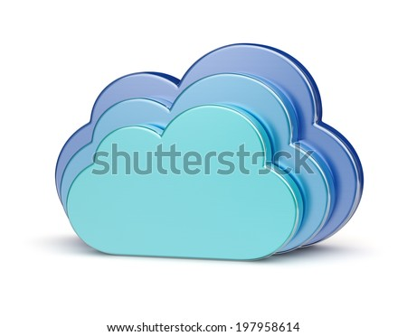 Cloud computing creative concept - blue glossy metallic clouds isolated on white