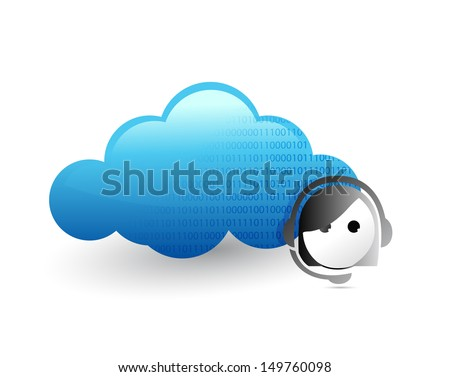 cloud computing customer support concept illustration design over a white background - stock photo