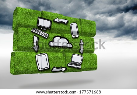 Cloud computing cycle on abstract screen against cloudy sky background