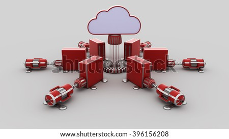 cloud computing 3d  render - stock photo