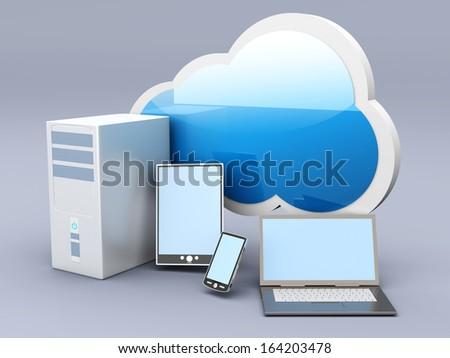 Cloud computing. 3D rendered illustration. - stock photo