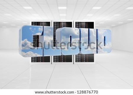 Cloud Computing data center with letters flying - stock photo
