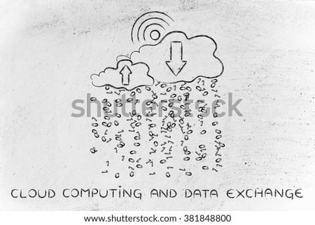 Cloud computing & Data Exchange: clouds with binary code rain, wi-fi insired sun, uploads & downloads arrows - stock photo