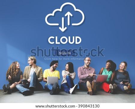 Cloud Computing Database Server Network Concept - stock photo