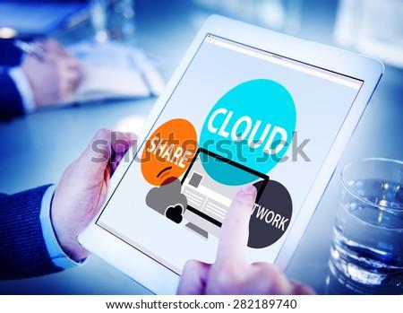 Cloud Computing Database Transfer Internet Technology Concept - stock photo