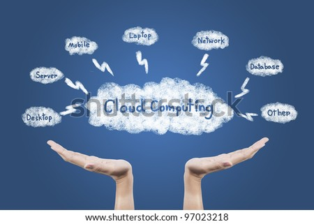 Cloud Computing diagram in hand - stock photo