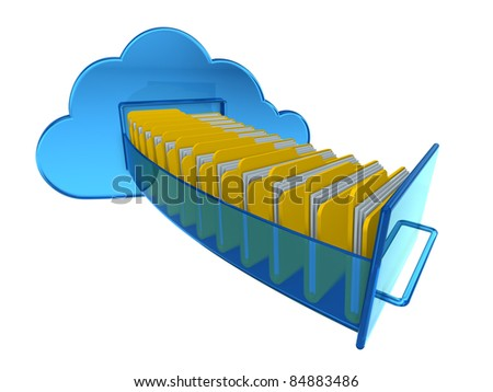 Cloud computing documents - stock photo