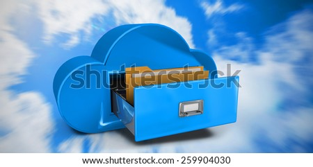 Cloud computing drawer against bright blue sky with clouds