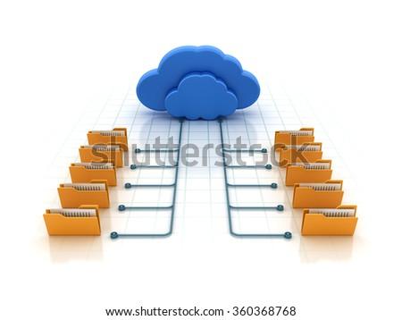 Cloud Computing - High Quality 3D Render - stock photo