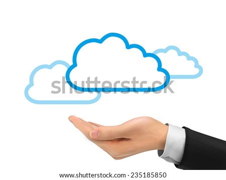 cloud computing icon holding by realistic hand over white background