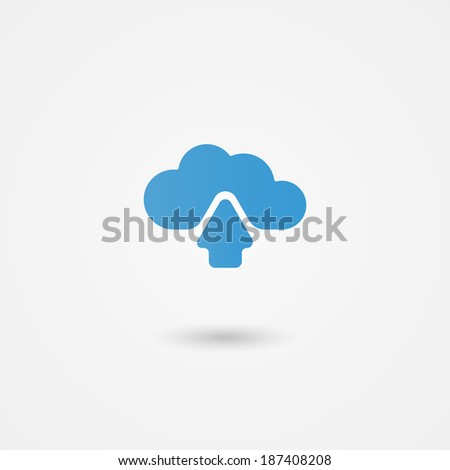 Cloud computing icon showing an upload arrow for data being transmitted to online or virtual storage with global access across devices  illustration
