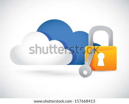 cloud computing illustration lock illustration design over white