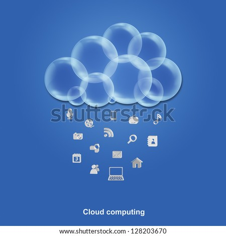 Cloud computing illustration - with services raining down