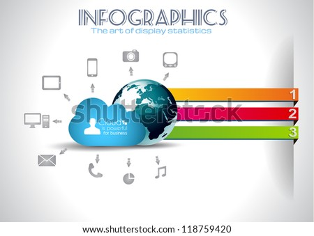 Cloud Computing Infographic concept background with a lot of icons: tablet, smartphone, computer, desktop, monitor, music, downloads and so on